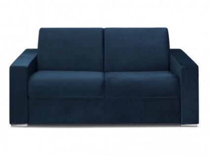 Schlafsofa 2-Sitzer Samt CALITO - Dunkelblau - Liegefläche: 120 cm - Matratzenhöhe: 14cm
