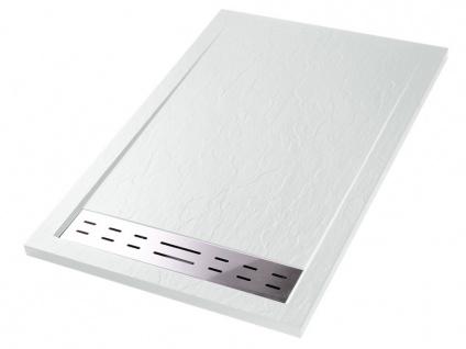 Duschwanne mit Siphon LYROS - 1400x800x40 mm - Weiß
