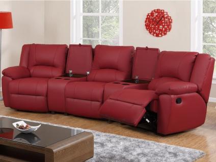 Relaxgarnitur 3+1 AROMA - Leder - Rot - Vorschau 2