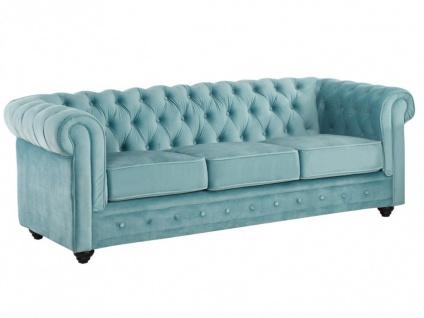 3-Sitzer-Sofa Chesterfield Samt ANNA - Blau - Vorschau 4