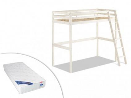 Set Hochbett Massivholz mit Schreibtisch GEDEON + Lattenrost + Matratze - 90x190cm