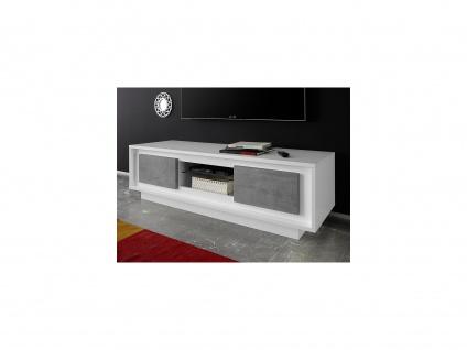 TV-Möbel mit LED-Beleuchtung TARANI - 2 Türen & 1 Ablage - Weiß & Beton-Optik