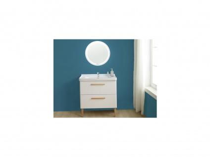 Komplettbad VATINE - Unterschrank + Waschbecken + Spiegel - Weiß - Vorschau 1