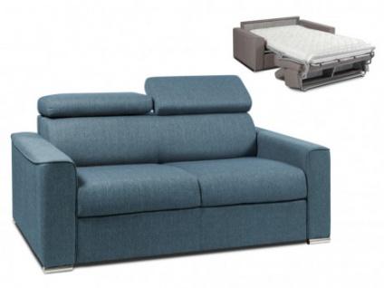 Schlafsofa 2-Sitzer Stoff VIZIR - Blau - Liegefläche: 120cm - Matratzenhöhe: 14cm