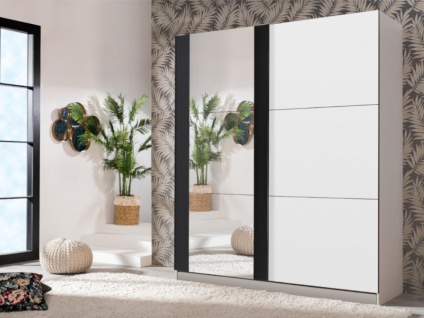 Kleiderschrank mit Schiebetüren & Spiegel SUTERA - B. 217 cm - Weiß & Schwarz