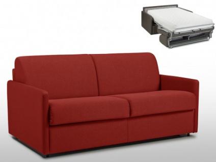 Schlafsofa 3-Sitzer Stoff CALIFE - Rot - Liegefläche: 140 cm - Matratzenhöhe: 22cm