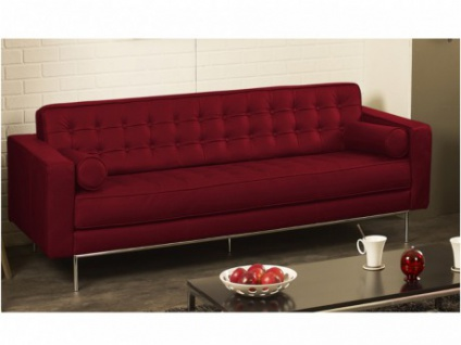 Ledersofa 3-Sitzer Vittoria - Standardleder - Rot