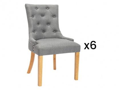 Stuhl 6er-Set JOLIA - Stoff & Holz - Grau