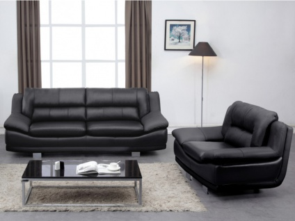 Couchgarnitur Leder 3+1 THOMAS - Schwarz
