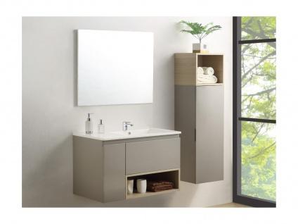 Komplettbad KLADE - Unterschrank + Waschbecken + Spiegel + Regal - Taupe lackiert - Vorschau 2