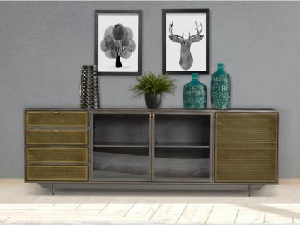 Sideboard Metall & Glas CLAIRTON - 3 Türen & 4 Schubladen