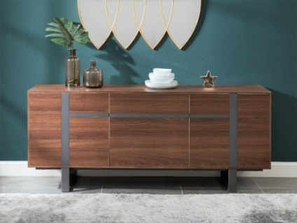 Sideboard PETILLANTE - 3 Türen & 1 Schublade - Nussholzfarben