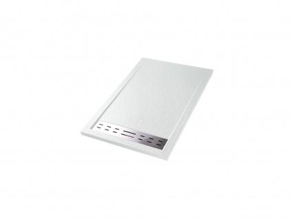 Duschwanne mit Siphon LYROS - 1200x800x40 mm - Weiß