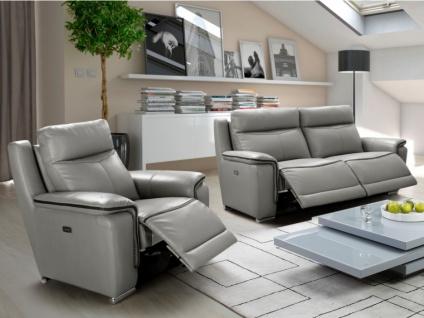 Couchgarnitur Relax Leder Paosa 3+1 - Grau mit anthrazitgrauer Ziernaht