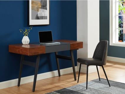 Schreibtisch ausziehbar MEDEINA - Holz & Metall - Nussbaum & Anthrazit