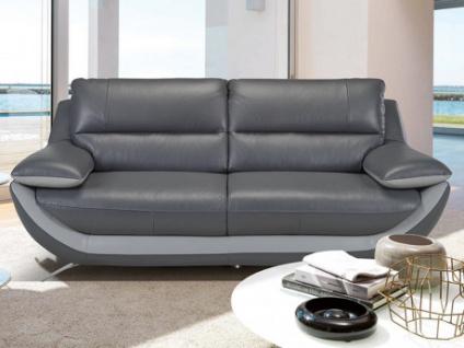 Ledersofa 3-Sitzer ADAGIO - Standardleder - Anthrazit-Grau
