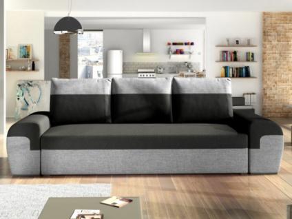3-Sitzer-Sofa mit Bettfunktion Stoff GABY - Schwarz/Grau