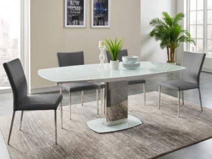Essgruppe TALICIA: Esstisch & 4 Stühle - Weiß