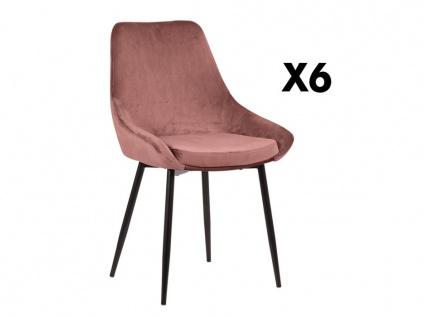 Stuhl 6er-Set MASURIE - Samt - Terrakotta