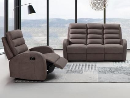 Couchgarnitur mit Relaxfunktion 3+1 GIORGIA - Stoff - Braun