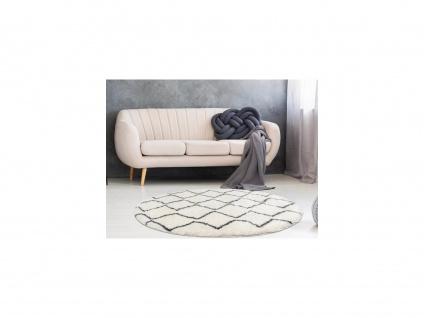 Teppich rund Berber-Stil MINEA - Polyester - D. 160 cm - Beige & Grau - Vorschau 1