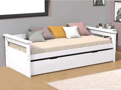 Ausziehbett Massivholz ALFONSO - 90x190cm - Weiß