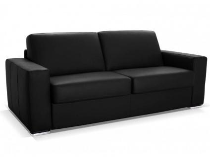 Schlafsofa 3-Sitzer mit Matratze DELECTEA - Luxusleder - Schwarz