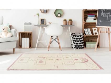 Kinderteppich FUNNY - Polypropylen - 100 x 150 cm - Beige & Rosa