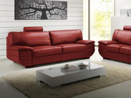 Ledersofa 3-Sitzer California II - Rot