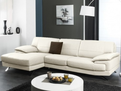 Ledersofa Ecksofa Emotion - Luxusleder - Weiß - Sofaecke Links