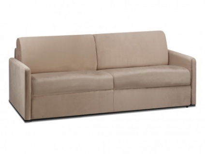 Schlafsofa 4-Sitzer Samt CALIFE - Beige - Liegefläche: 160 cm - Matratzenhöhe: 14cm