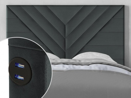 Bett-Kopfteil mit USB-Anschlüssen HOLDA - 140 cm - Samt - Grau