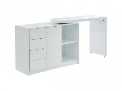 Schreibtisch ausziehbar PAVEL - Tischplatte um 360° schwenkbar - Weiß