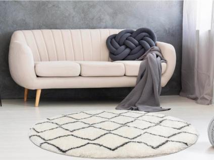 Teppich rund Berber-Stil MINEA - Polyester - D. 160 cm - Beige & Grau