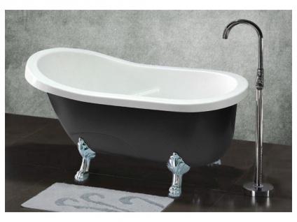 Freistehende Badewanne EGEE II - 171 L - Schwarz mit silberfarbenen Füßen