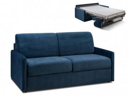Schlafsofa Samt mit Express Bettfunktion & Matratze CALIFE - Dunkelblau - Liegefläche: 140 cm - Matratzenhöhe: 14cm