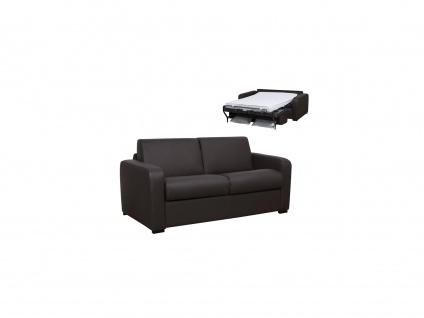 Schlafsofa mit Matratze 3-Sitzer BEVIS - Leder - Braun