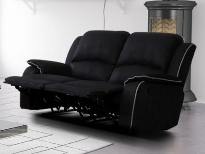 Relaxsofa Microfaser 2-Sitzer HERNANI - Schwarz