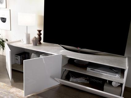 TV-Möbel CHERIFA - 2 Türen & 1 Schublade - Weiß & Betonfarben