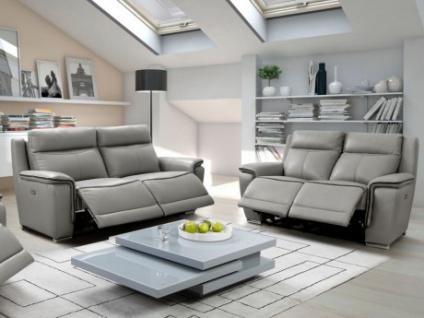 Couchgarnitur Relax Leder Paosa 3+2 - Grau mit anthrazitgrauer Ziernaht
