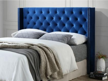 Kopfteil Bett Samt MASSIMO - Breite: 160 cm - Blau