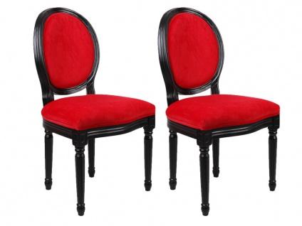 Stuhl 2er-Set Samt Louis XVI - Rot