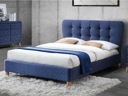 Polsterbett Stoff mit Lattenrost ELIDE - 140x190cm - Blau