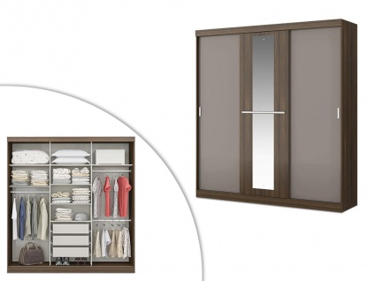 Kleiderschrank DIDDA - 3 Schiebetüren - Braun & Taupe