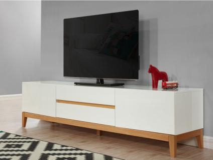 TV-Möbel Hochglanz SEDNA - Weiß-Holzfarben - Vorschau 1