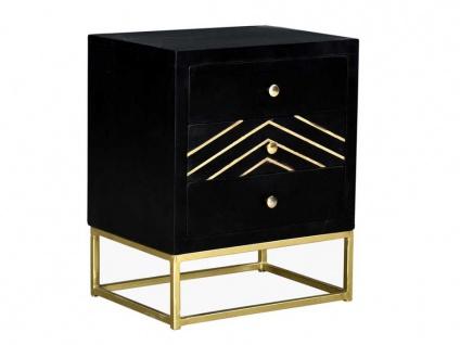 Nachttisch Art Déco Holz & Metall PRISMIN - 3 Schubladen