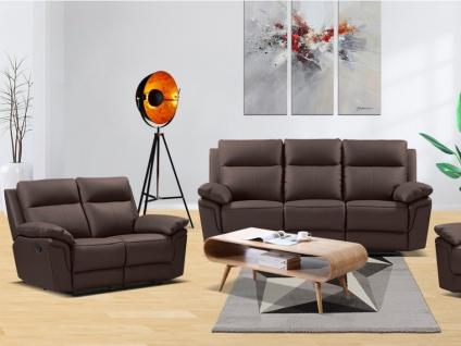 Relaxgarnitur 3+2 PAKITA - Büffelleder - Braun