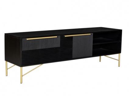 TV-Möbel CHANDRA - 2 Türen & 2 Ablagen - Akazie & Metall - Schwarz & Goldfarben