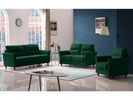Couchgarnitur 3+2+1 SIDONIE - Stoff - Dunkelgrün