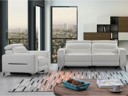 Relaxgarnitur elektrisch 3+1 PAULY - Leder - Weiß